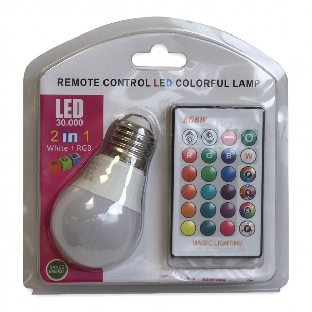 Λάμπα LED 3W Εναλλαγής Χρωμάτων με Τηλεχειριστήριο