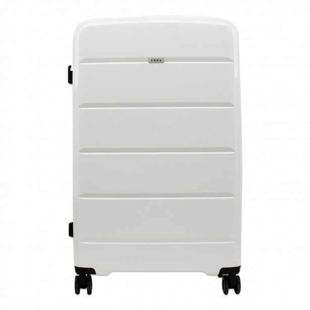 Enda Βαλίτσα Τροχήλατη Σκληρή Λευκό 73x32x46cm